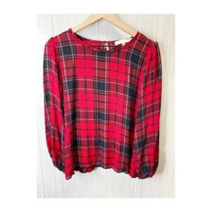 Loft Plaid Blouse MED
